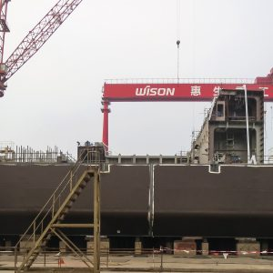 Picture 07 - The Caribbean FLNG being assembled at the Wison shipyard.