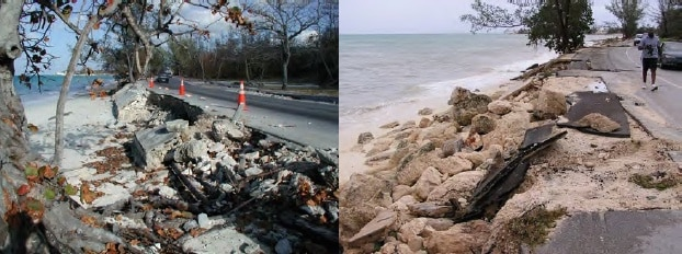Sea wall failure at Caves Point, NP, after H Michelle (2001) and H Frances (2005)