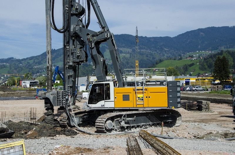 Rotary drilling rig type LB 44 from Liebherr on site in Dornbirn, Austria.