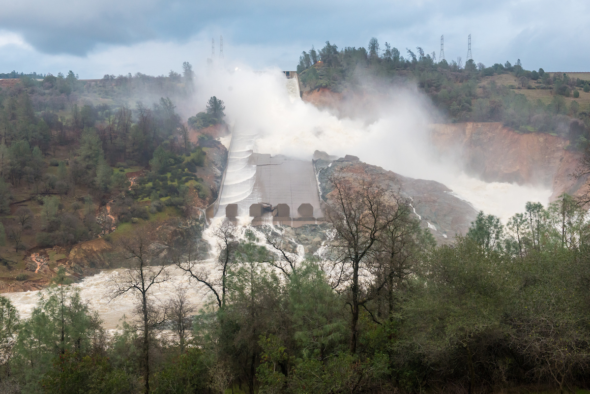 The Oroville Dam main spillway is flowing at 55,000 cubic feet per second at the Oroville Dam in Oroville, California, allowing engineers to get a better look at the damaged spillway at Lake Oroville in California. Oroville is a city in Butte County. Photo taken in the late afternoon of February 18, 2017. Florence Low / California Department of Water Resources