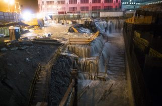 Oct. 29, 2012 - Sea water floods the World Trade Center construction site in New York during Superstorm Sandy. (AP Photo/John Minchillo, File)