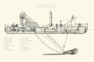 Vintage engraving of a 19th Century Steam Dredger. Dredging is an excavation activity or operation usually carried out at least partly underwater, in shallow seas or fresh water areas with the purpose of gathering up bottom sediments and disposing of them at a different location. This technique is often used to keep waterways navigable.